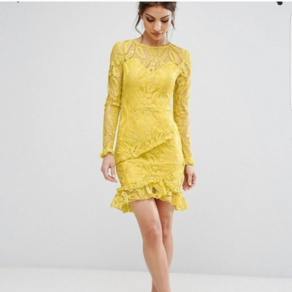 4f3fcfd6 PrettyLittleThing Dresses | Pretty Little Thing Asos Yellow Lace ...